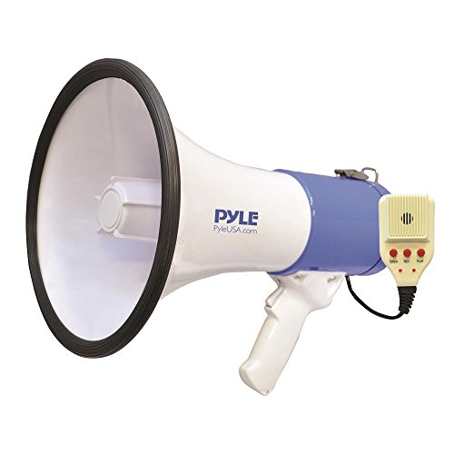 Pyle Megaphone PA Bullhorn Speaker – Built-in Siren 50 Watts Rechargeable Battery- 10 Sec Record Function for Football Baseball Basketball Cheerleading Fans Coaches or for Safety Drills – (PMP59IR)