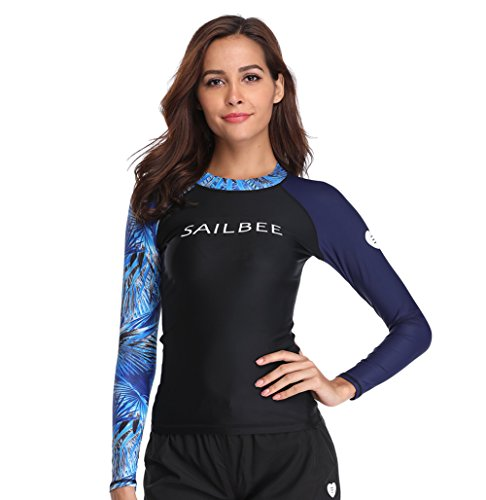SailBee Women's Long Sleeve Rash Guard Fashion Swimsuit Top Wetsuit UV Sun Protection