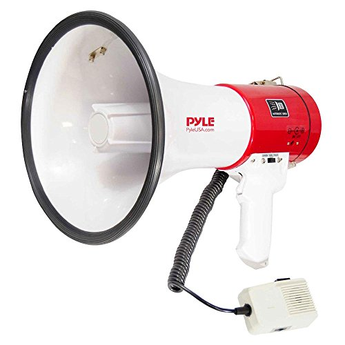 Pyle Megaphone Speaker PA Bullhorn – with Built-in Siren 50 Watts Adjustable Volume Control & Record Function – Ideal for Football, Baseball, Cheerleading Fans, Coaches or for Safety Drills PMP58U
