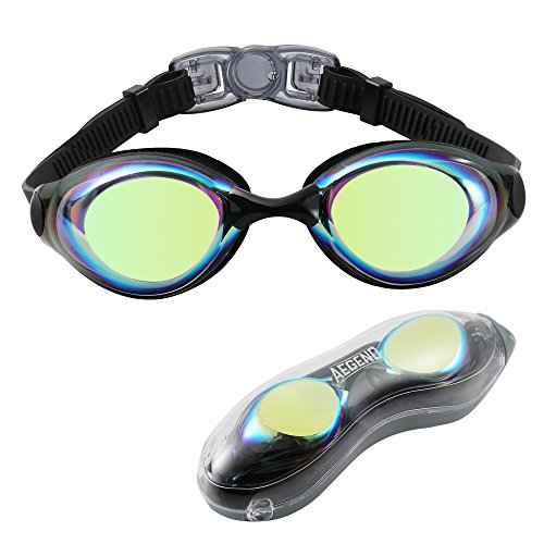 Aegend Swim Goggles, Swimming Goggles Shatter-Proof For Men Women Adult Youth Kids Children, Anti-Fog UV Protection Leak-Proof Triathlon Swim Goggles Mirrored/Clear With Free Protection Case