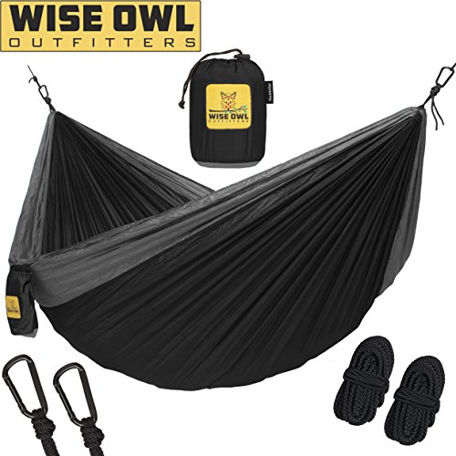 Wise Owl Outfitters Hammock for Camping – Single & Double Hammocks Gear For The Outdoors Backpacking Survival or Travel – Portable Lightweight Parachute Nylon Many Colors