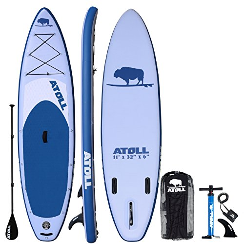 Atoll 11′ Foot Inflatable Stand Up Paddle Board (6 Inches Thick, 32 inches wide) ISUP, Bravo Hand Pump and 3 Piece Paddle, Travel Backpack and Accessories New Paddle Leash Included